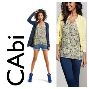 Vintage CAbi Scatter Print Cami Blouse Top Yellow